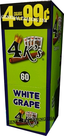 4 K's Cigarillos 1-15-4's/24 Re-Sealable Foil Pouch WHITE GRAPE (60 Cigars)  Pre-Priced 4 for $0 99 Cents