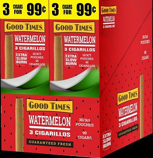 Good Times Watermelon Cigarillos 30 3's Total 90 Cigars