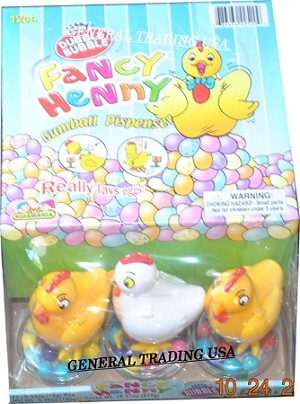 Fancy Henny Gumball Dispenser - Dubble Bubble - Really Lays Eggs! 12 Count - Age 3+