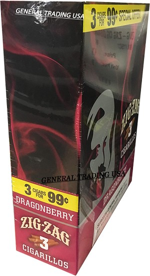 ZIG ZAG DRAGONBERRY CIGARILLOS 3 FOR $0.99 45 CIGARS