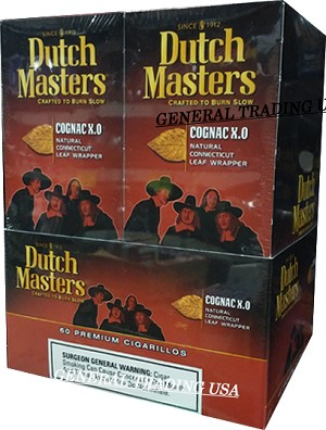 DUTCH MASTERS CIGARILLOS COGNAC X.O NATURAL CONNECTICUT LEAF WRAPPER - CRAFTED TO BURN SLOW 60 PREMIUM CIGARS