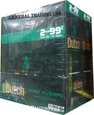 DUTCH MASTERS MINT FUSION CRISP NATURAL CONNECTICUT LEAF WRAPPER - CRAFTED TO BURN SLOW 60 PREMIUM CIGARS CIGARILLOS