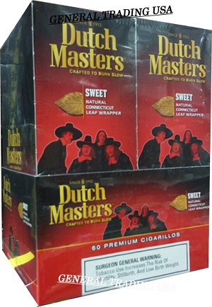DUTCH MASTERS CIGARILLOS SWEET NATURAL CONNECTICUT LEAF WRAPPER - CRAFTED TO BURN SLOW 60 PREMIUM CIGARS