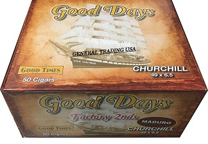 "Good Days Factory 2nds Churchill Maduro 50 Count Box 6.5 "" x 49"