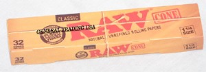 RAW NATURAL UNREFINED CLASSIC  CONE ROLLING PAPERS 1.25, 32 CONES