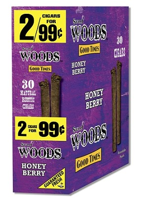 Sweet Woods HoneyBerry Natural Wrapper 30 Cigars