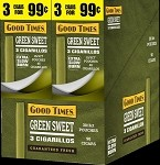 Good Times Green Sweet Cigarillos 30 3's 3 for 99 Cents 90 Cigarillos